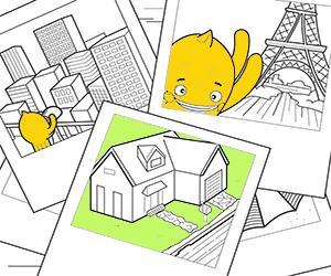 Dibuixos per pintar de Cases, Ciutats i Monuments